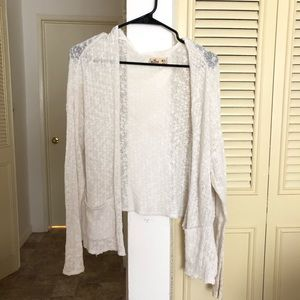 Hollister open white cardigan sweater knit